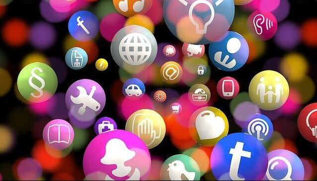 social media icons scattered